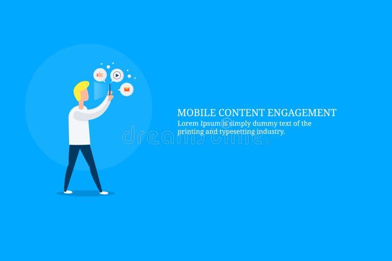 Engagement satisfait, technologie numérique pour engager l'assistance avec le contenu numérique, concept de commercialisation num illustration libre de droits