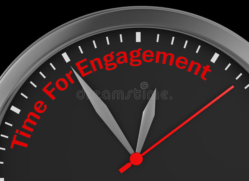 Engagement time. Word on concept clock 3d rendering vector illustration