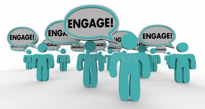 Engagez interactif font participer des personnes de bulle de la parole illustration libre de droits