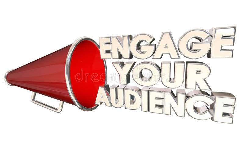 Engagez votre assistance communiquent le mégaphone de corne de brume illustration stock
