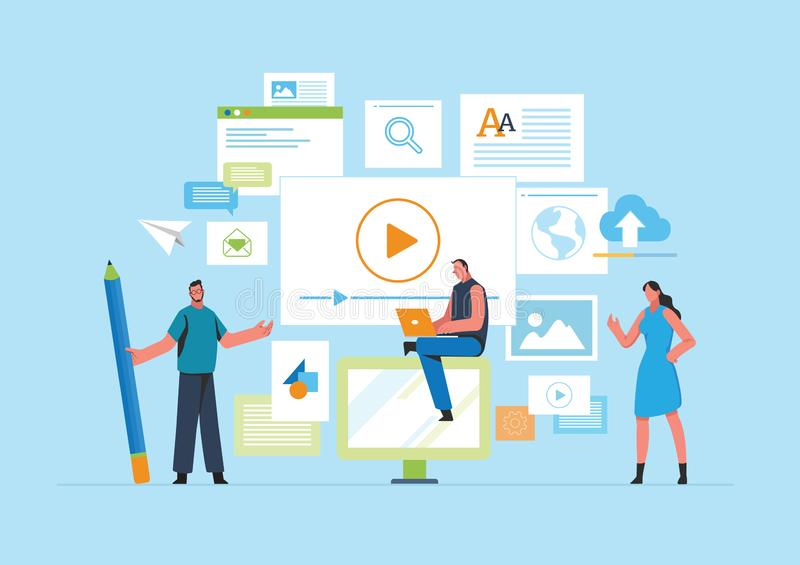 Engaging Content, Blogging, Blogger. Freelance. Marketing content. Creative writing. Copy writer. Content management. Flat cartoon. Miniature  illustration stock illustration