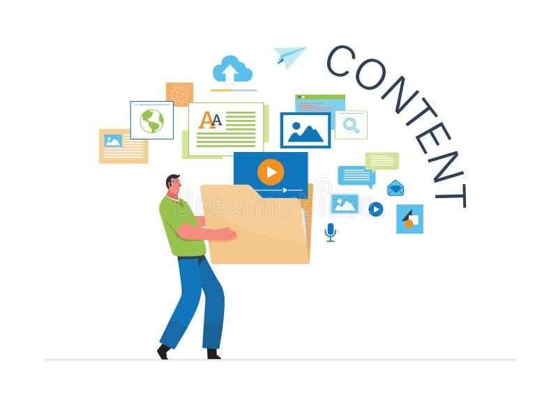 Engaging Content, Blogging, Blogger. Freelance. Marketing content. Creative writing. Copy writer. Content management. Flat cartoon. Miniature  illustration vector illustration