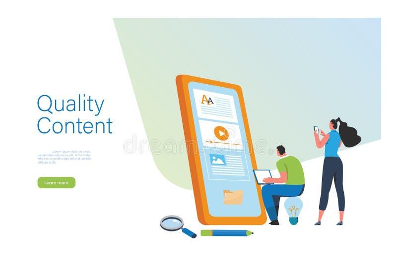 Engaging Content, Blogging, Blogger. Freelance. Marketing content. Creative writing. Copy writer. Content management. Flat cartoon stock illustration