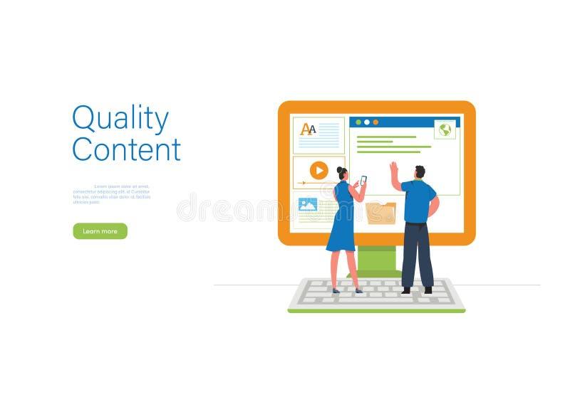 Engaging Content, Blogging, Blogger. Freelance. Marketing content. Creative writing. Copy writer. Content management. Flat cartoon vector illustration