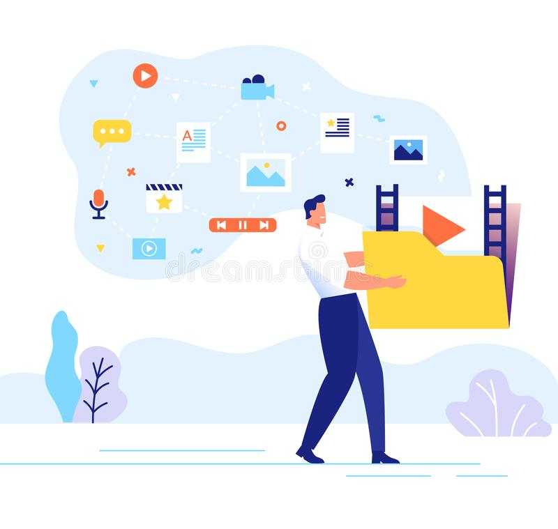 Engaging content concept. Man carries a large folder with media files. Communication with subscribers vector. A man carries a large folder with media files stock illustration