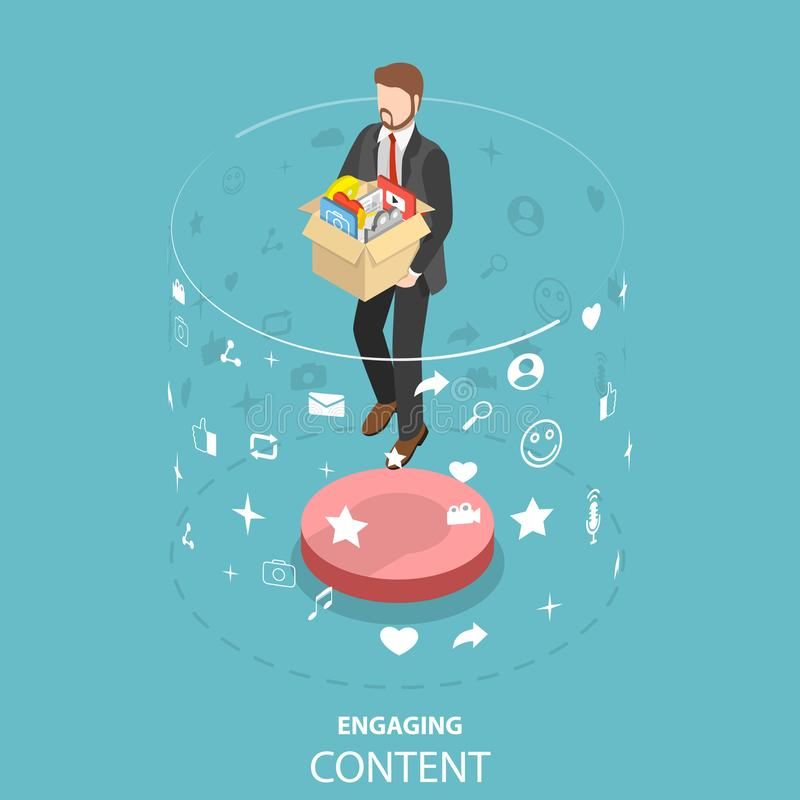 Engaging content marketing isometric flat vector concept. stock illustration