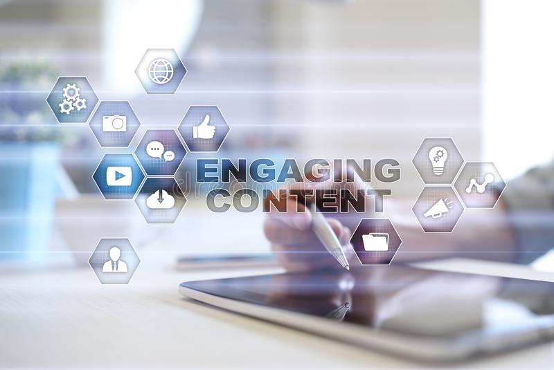 Engaging content on virtual screen. Digital marketing concept. vector illustration