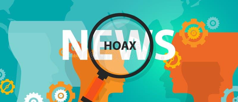 Engane las noticias falsas o el problema alternativo de la prensa de la verdad del hallazgo de los hechos en línea ilustración del vector
