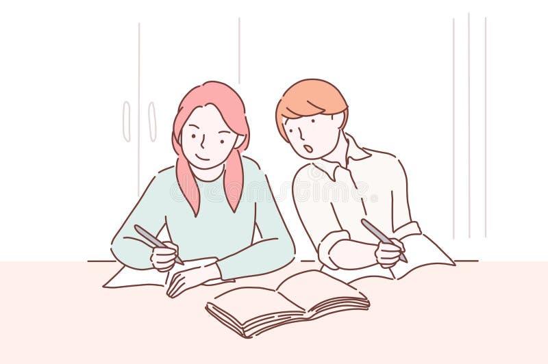 Engano no estudante do adolescente do teste que olha ao teste-livro de seu colega fêmea que senta uma mesa antes dele Menino ilustração stock