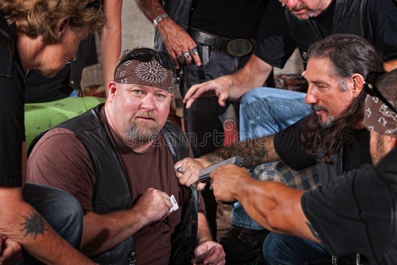 Engano travado membro do grupo do motociclista foto de stock