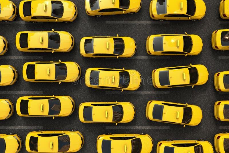 Engarrafamento de táxis amarelos ilustração royalty free