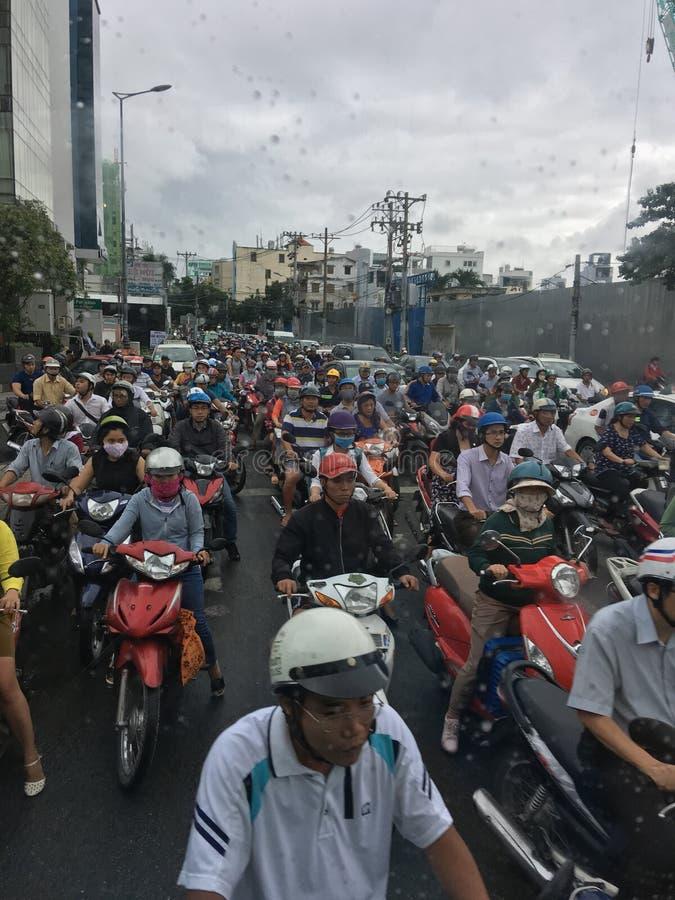 Engarrafamento em HO CHI MINH CITY, VIETNAME imagem de stock