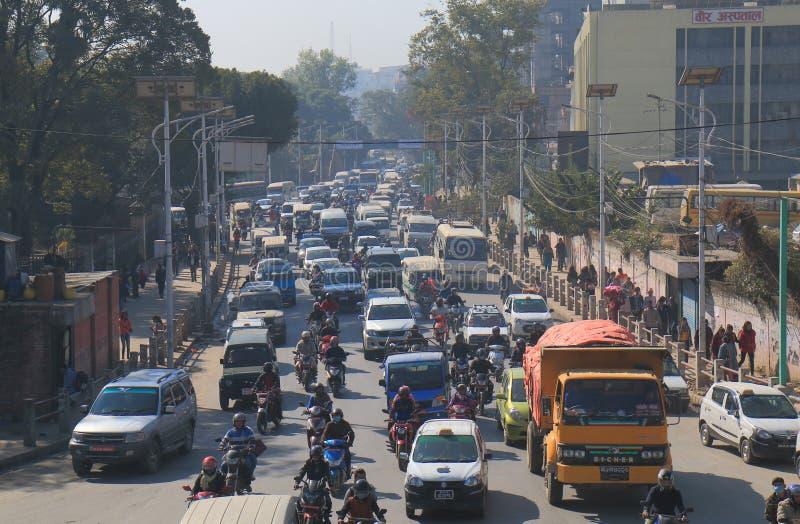 Engarrafamento Kathmandu Nepal imagens de stock
