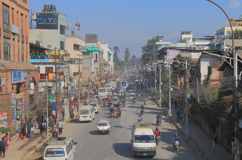 Engarrafamento Kathmandu Nepal foto de stock royalty free