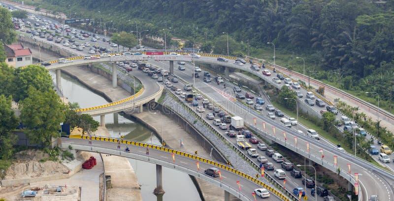 Engarrafamento na cidade de Kuala Lumpur imagem de stock