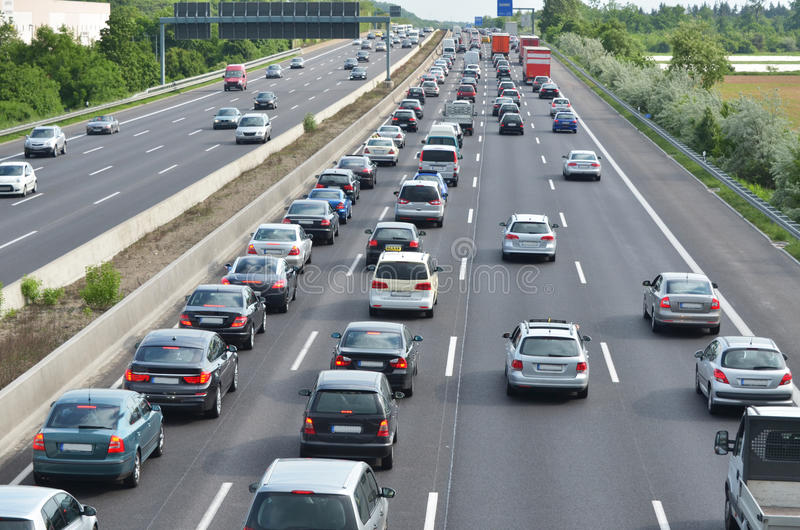Engarrafamento na estrada alemão fotos de stock royalty free