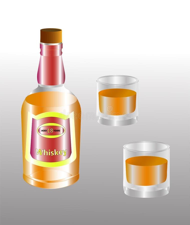 Engarrafe e dois vidros da bebida alcoólica do uísque ilustração stock