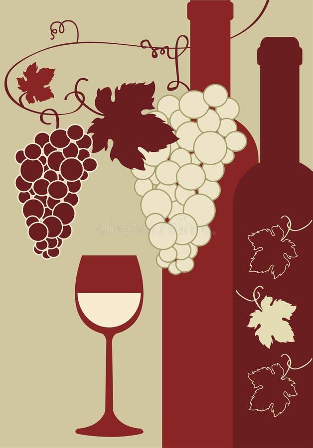 Engarrafe uvas do vidro de vinho ilustração royalty free