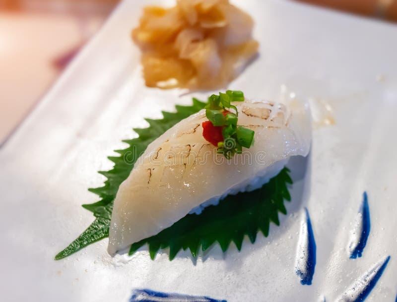 Engawa寿司或异体类飞翅用米 库存图片