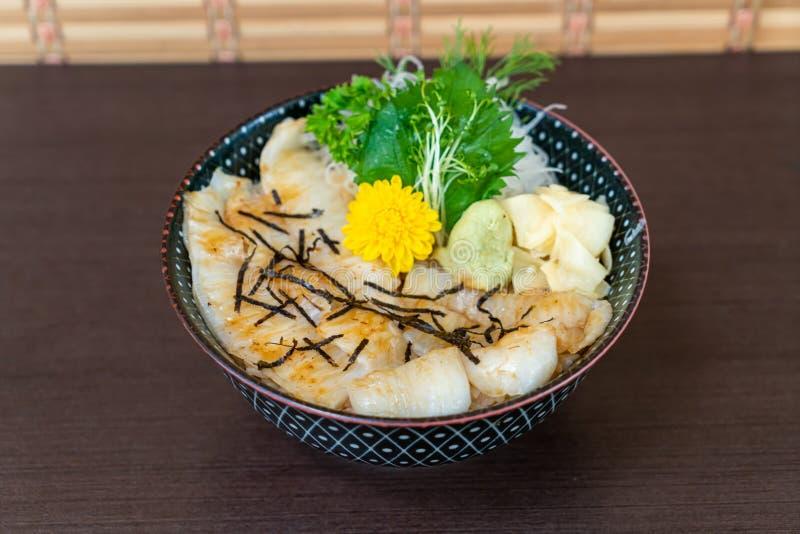 Engawa on topped rice bowl (donburi. ) - Japanese food style royalty free stock image