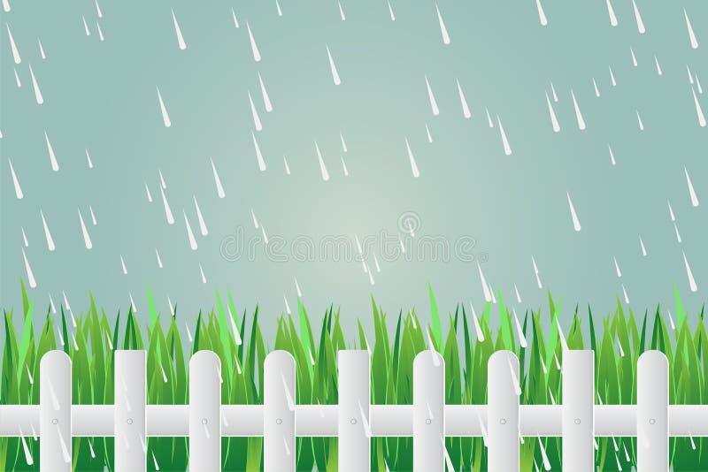 Engazonnez la barrière sur la pluie torrentielle de jour sur le fond vert Illustration de vecteur illustration stock