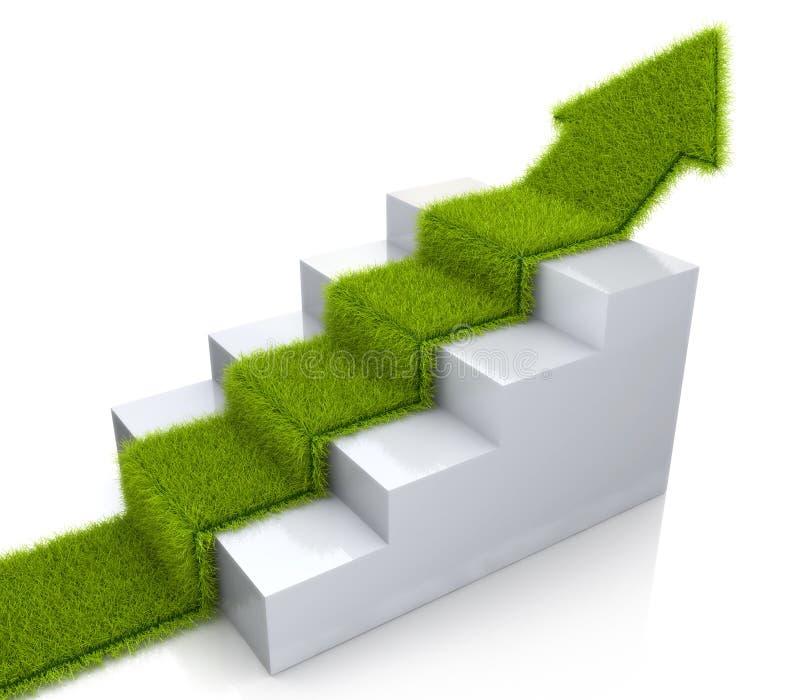 Engazonnez la flèche couverte s'élevant au-dessus d'un escalier illustration libre de droits