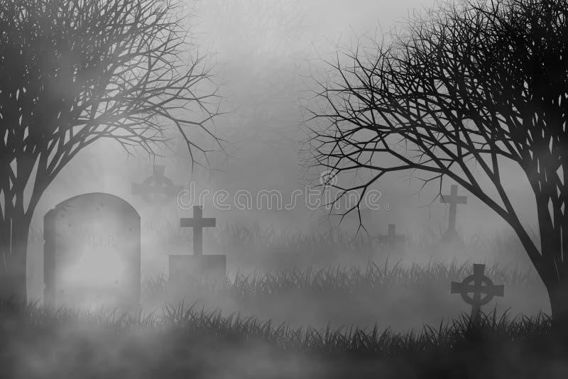 Enge begraafplaats op griezelige bosconceptontwerpachtergrond royalty-vrije illustratie