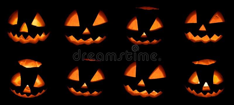 Enge die Halloween-pompoenreeks op een zwarte achtergrond wordt geïsoleerd stock fotografie