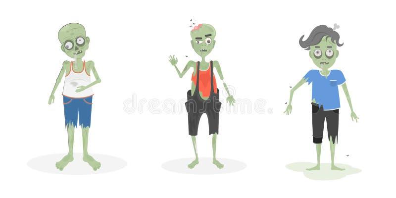 Enge geplaatste zombieën royalty-vrije illustratie