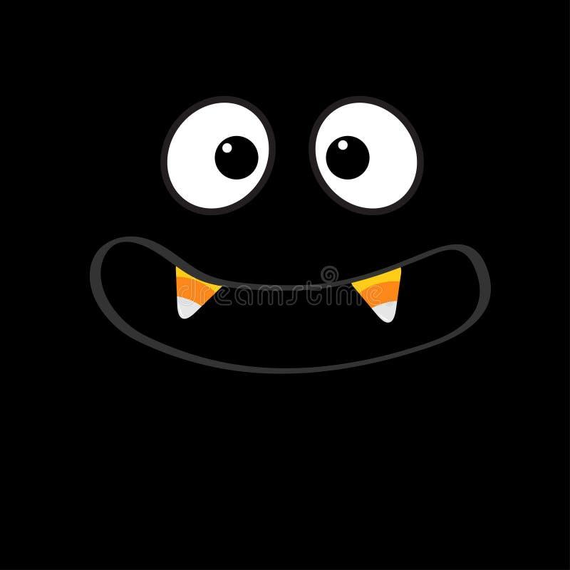 Enge gezichtsemoties Grote ogen, mond met de hoektand van de de Vampiertand van het suikergoedgraan royalty-vrije illustratie
