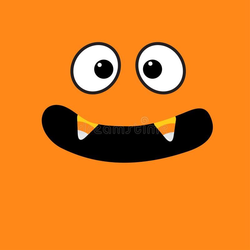 Enge gezichtsemoties Grote ogen, mond met de hoektand van de de Vampiertand van het suikergoedgraan Gelukkig Halloween De groetka vector illustratie