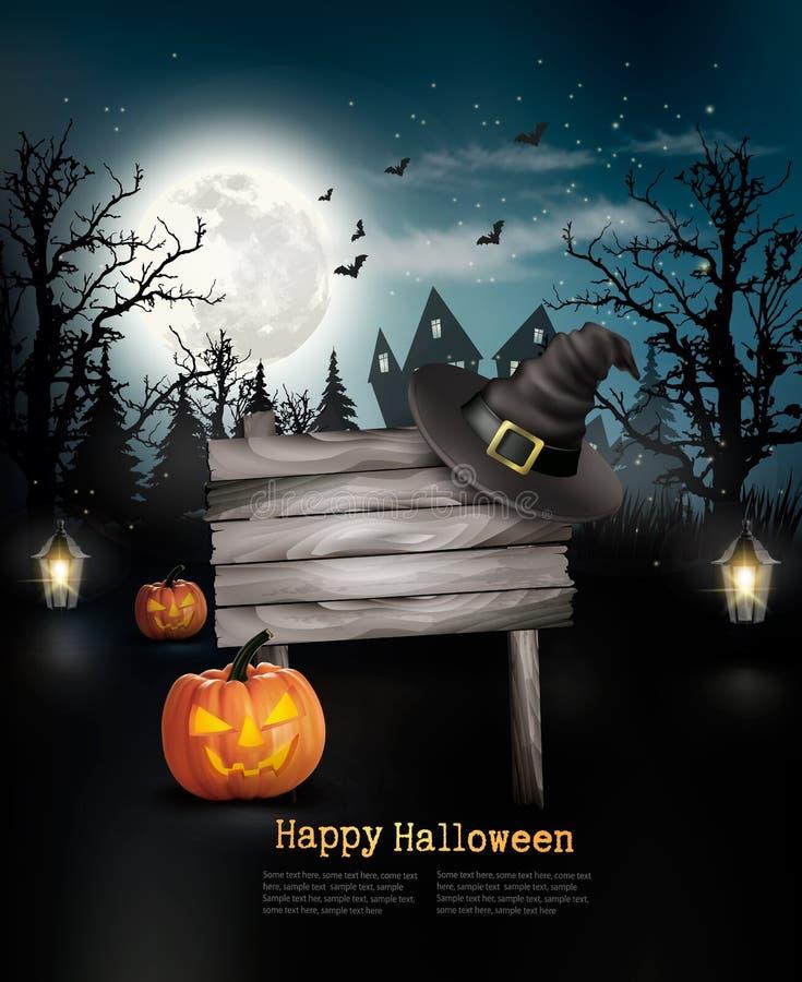 Enge Halloween-achtergrond met een houten teken royalty-vrije illustratie