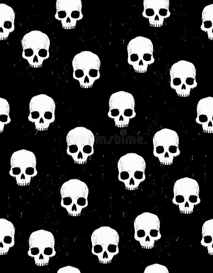 Enge Halloween-Illustratie Wit Menselijk Schedels Vectorpatroon royalty-vrije illustratie