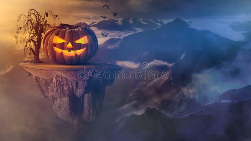 Enge Halloween-pompoen op drijvend eiland boven de bergen stock foto's