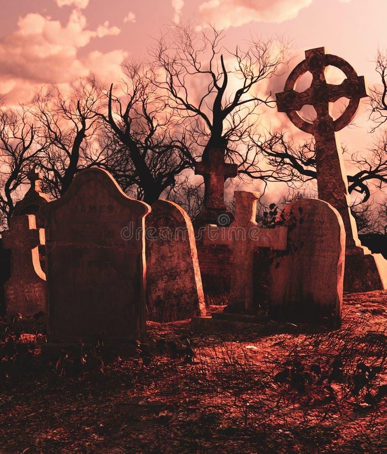 Enge scène van Achtervolgd kerkhof royalty-vrije illustratie