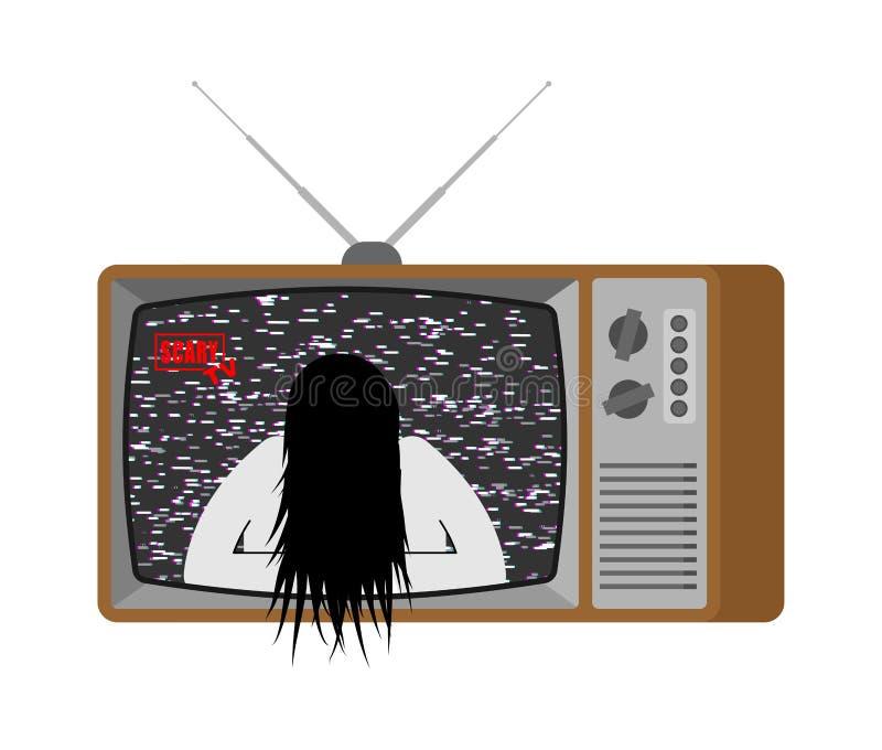 Enge TV Halloween-nieuws oude televisie Broadcastin van het zombiemeisje vector illustratie