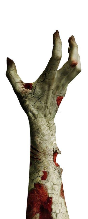 Enge zombiehand met vuile die vingers op wit worden geïsoleerd stock illustratie