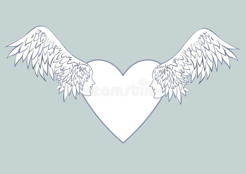 Engel beflügelt mit einem menschlichen Gesicht im Rahmen in Form eines Herzens Hellblauer Hintergrund Schöne Hochzeitskarten oder stock abbildung