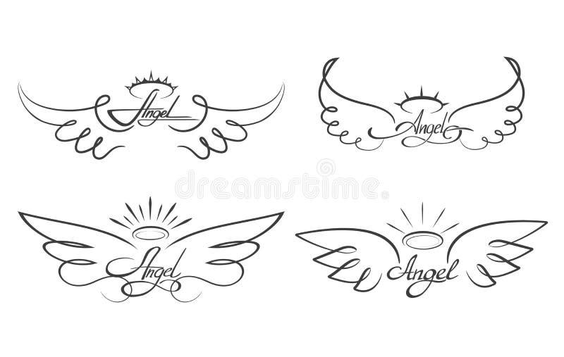 Engel beflügelt Zeichnungsvektorillustration Geflügelte himmlische Tätowierungsikonen lizenzfreie abbildung