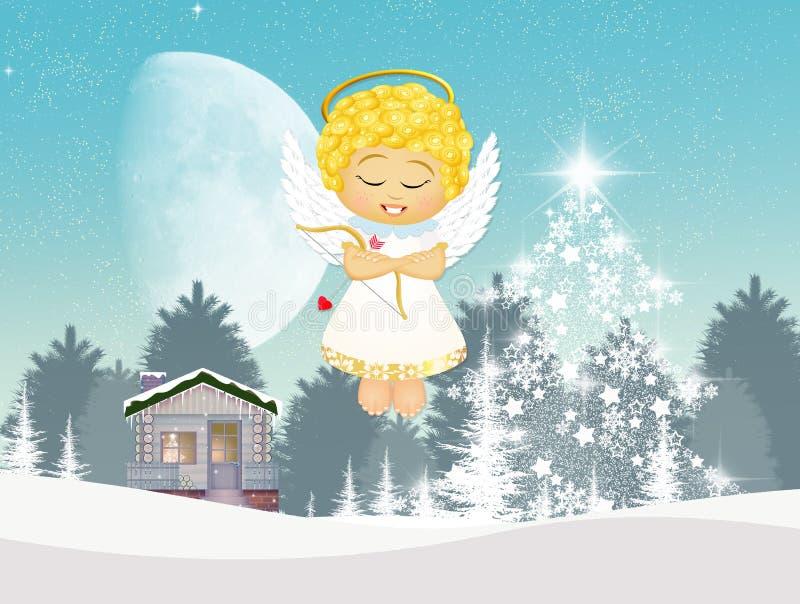 Engel bij Kerstmis vector illustratie