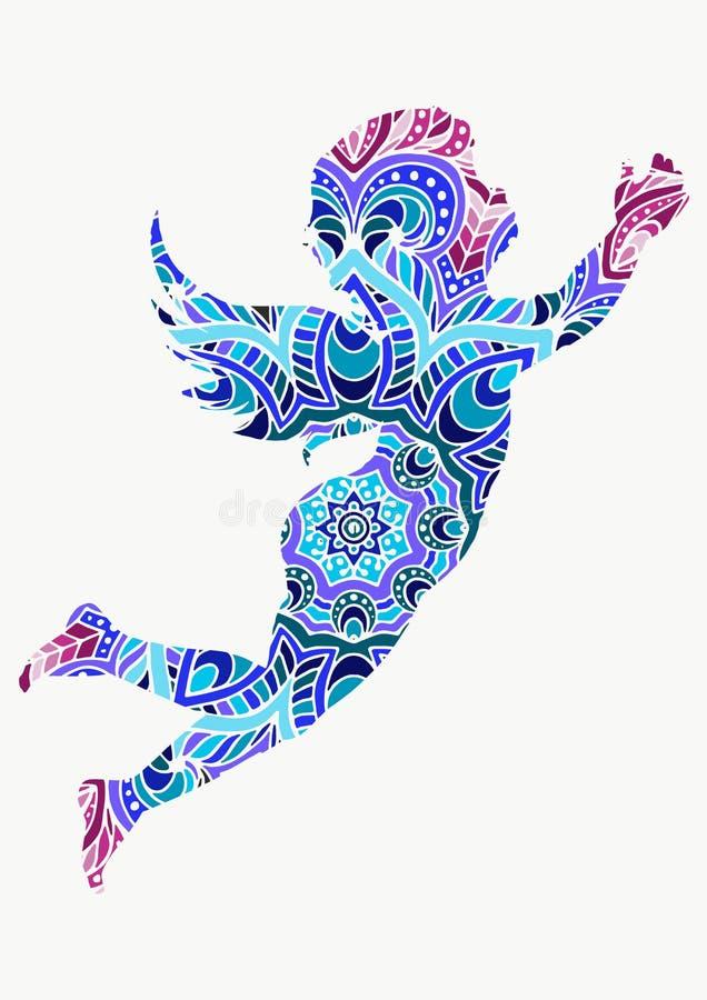 Engel of cupido weinig decoratie van llustrationornamenten van babyl hand getrokken vector royalty-vrije illustratie