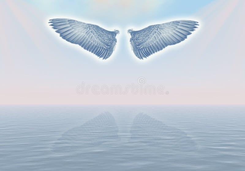 Engel in de hemel. stock illustratie