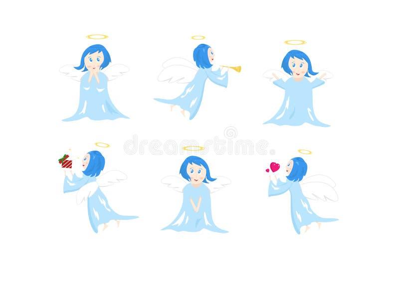 Engel, de leuke inzameling van beeldverhaalkarakters, houding en actie, C vector illustratie