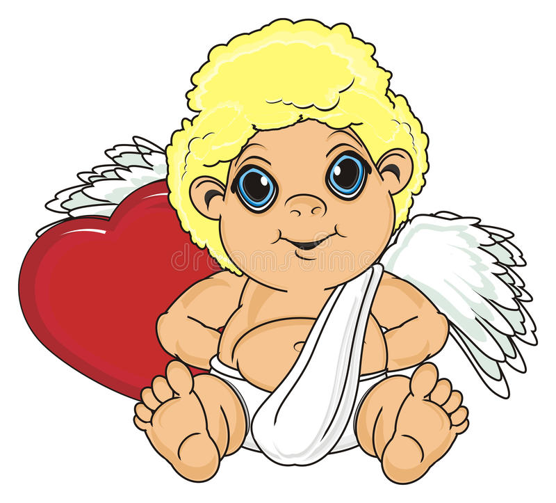 Engel, der ein Herz versteckt lizenzfreie abbildung