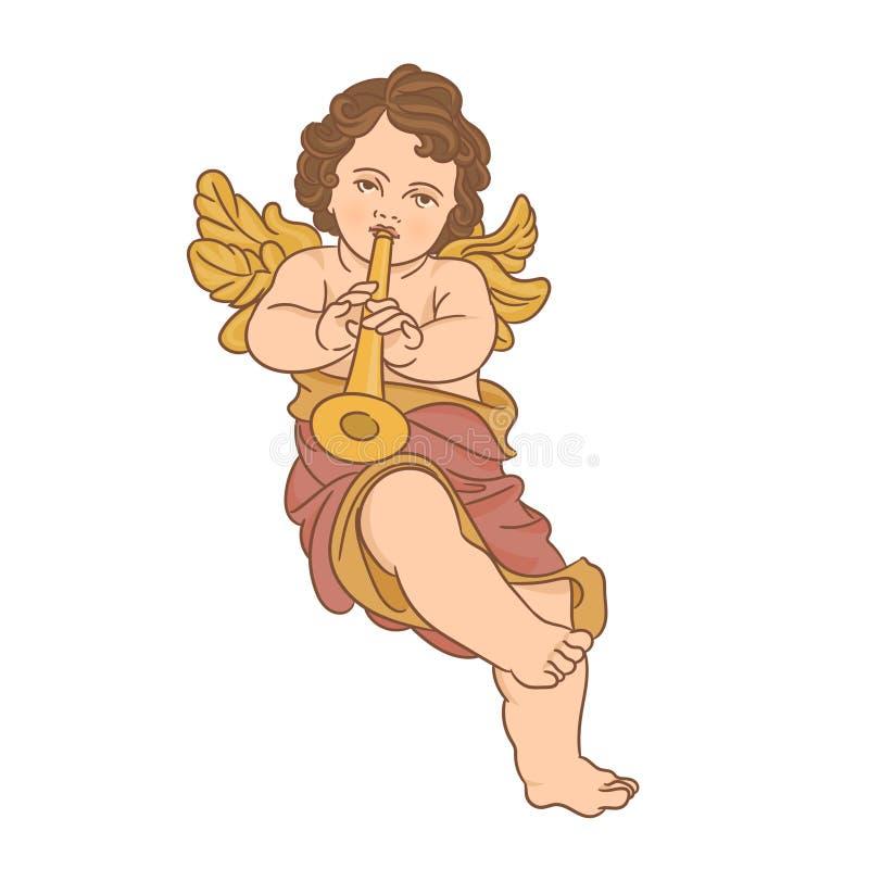 Engel, der Trompete spielt lizenzfreie abbildung