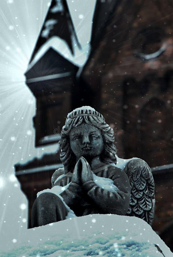 Engel dichtbij churchin Kamenskoe de Oekraïne stock foto