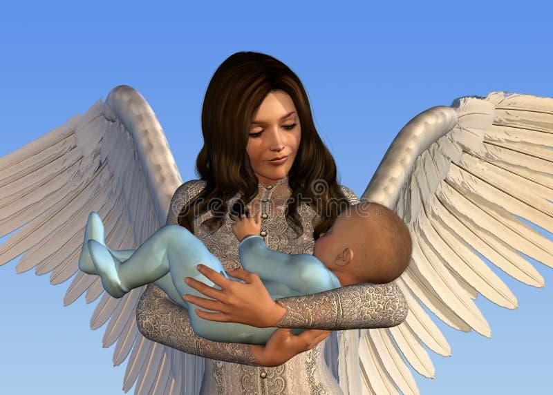 Engel die een Baby houdt stock illustratie