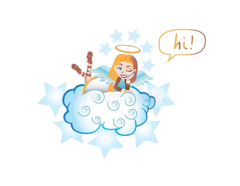 Engel die op haar wolk rusten vector illustratie