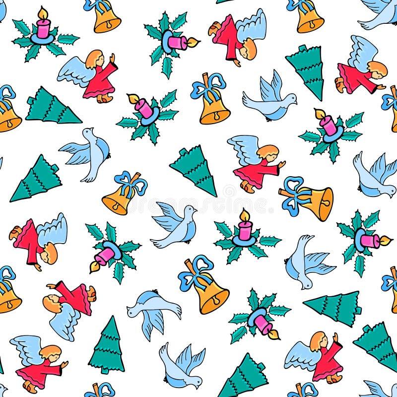 Engel, duif, kaars, klok Het naadloze patroon van Kerstmis Feestelijk ontwerp voor het Nieuwjaar 2019 in krabbelstijl royalty-vrije illustratie