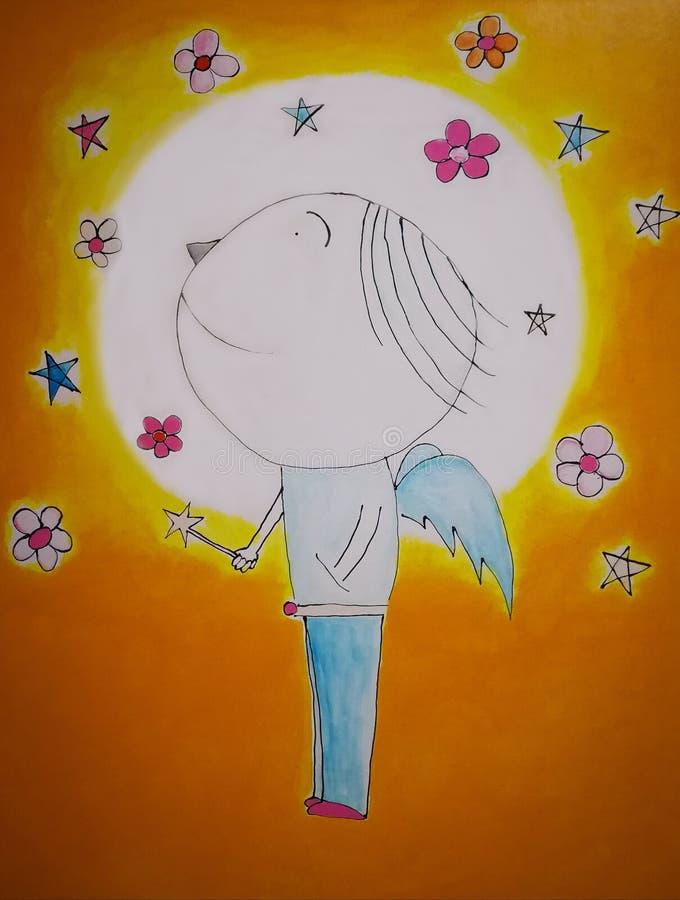 Engel en de ster stock afbeelding